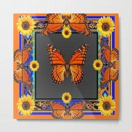Orange Monarch Butterflies Yellow Sunflowers Blue Patterns Art Metal Print