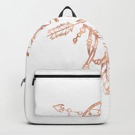 Mandala Rose Gold Pink Dreamcatcher Backpack