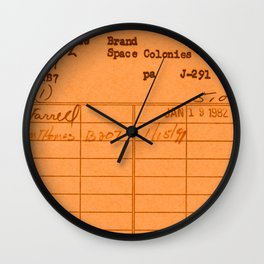 Library Card 797 Orange Wall Clock