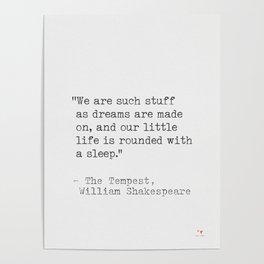 William Shakespeare Literary quote Poster
