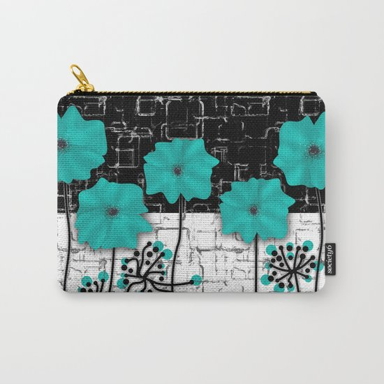 Turquoise flowers on black and white background . Carry-All Pouch