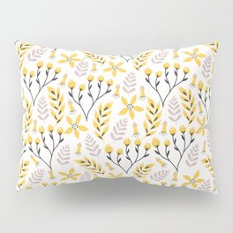Yellow Floral on White Pillow Sham