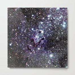 The Eagle Nebula : Pillars of Creation Deep Dark Blues & Purples Metal Print