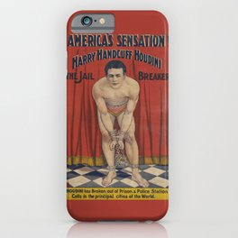 Harry Handcuff Houdini Magician Vintage Poster iPhone Case