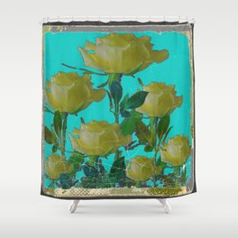 SHABBY CHIC TURQUOISE ANTIQUE IVORY YELLOW ROSE GARDEN Shower Curtain