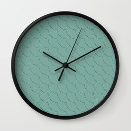 Shell-Like Wavy Green Lines Pattern with Light Texture Abstract Wall Clock