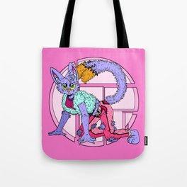 """Sassy Kitty Model"" Nekomata, Fashionista, Cats,Cat, Yokai, Japanese, Pink, Purple Tote Bag"
