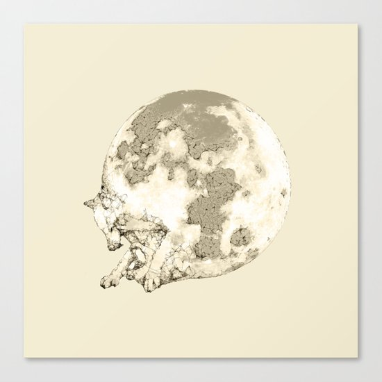 In which a wolfy moon thing happens Canvas Print