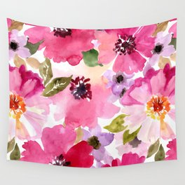 Watercolor Flowers Pink Fuchsia Wall Tapestry