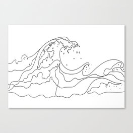 Minimal Line Art Ocean Waves Canvas Print