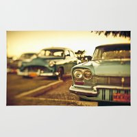 cuba Area & Throw Rugs featuring Cuba cars by gabyjalbert