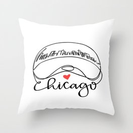 """Chicago Cloud Gate """"Bean"""" Throw Pillow"""
