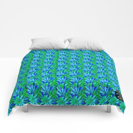 Cannabis Print Green and Blue Comforters