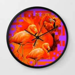 PANTENE ULTRA VIOLET PURPLE  FLAMINGOS ART DESIGN Wall Clock