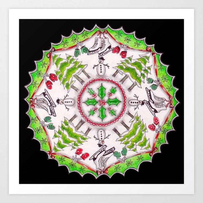 Winter Wreath Mandala (black background) Art Print