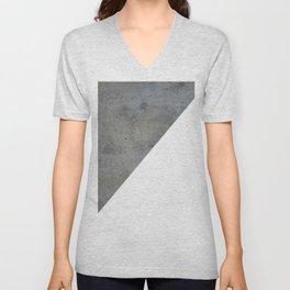 Geometrical Color Block Diagonal Concrete Vs White Unisex V-Neck