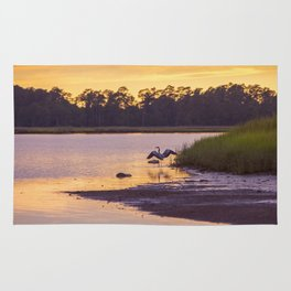 Heron on the River at Sunset Rug