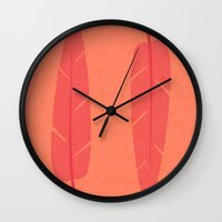 banana leaf Wall Clocks featuring Banana Leaf Pink by Endless Summer