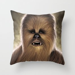 Chewbacca fan art digital portrait Throw Pillow