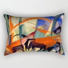 "Franz Marc ""Landscape with Black Horses"" Rectangular Pillow"