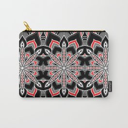 Mandala: Black White Red Flower Carry-All Pouch