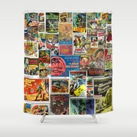 movie posters Shower Curtains featuring Vintage Sci-Fi Movie Posters  |  Collage by Silvio Ledbetter