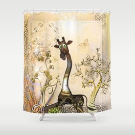 Funny steampunk giraffe, clocks and gears Shower Curtain