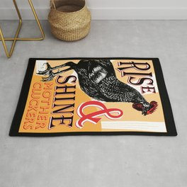 Rise and Shine Mother Cluckers | Rooster at Dawn | Vintage Roosters and Chickens | Rug