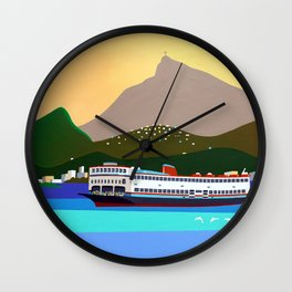 FERRY BOAT IN RIO Wall Clock