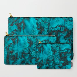 Blue Gemstone and Ink Malachite Glitter Marble Carry-All Pouch