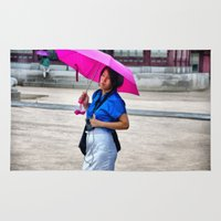 korean Area & Throw Rugs featuring Korean Woman in the Rain by Anthony M. Davis