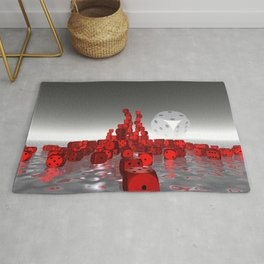 dices red and white Rug