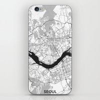 seoul iPhone & iPod Skins featuring Seoul Map Gray by City Art Posters