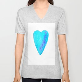 Turquoise Heart Full Of Love Watercolor Unisex V-Neck