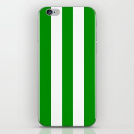 Islamic green - solid color - white vertical lines pattern iPhone Skin