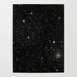Universe Space Stars Planets Galaxy Black and White Poster
