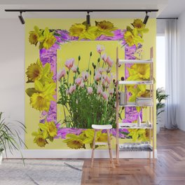YELLOW DAFFODILS FLOWER GARDEN & PINK POPPIES DESIGN Wall Mural
