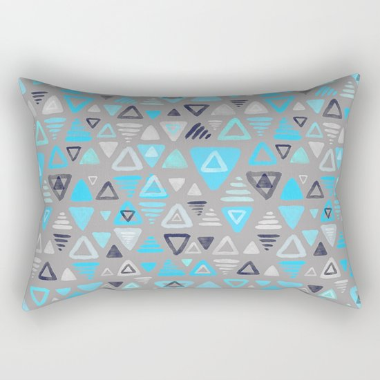 Summer Turquoise Triangles on Grey Rectangular Pillow
