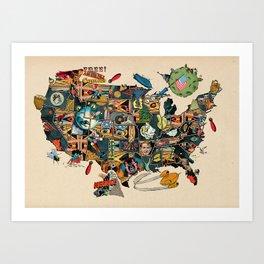 Pre election angst comics map of USA Art Print