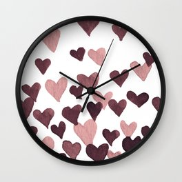 Valentine's Day Watercolor Hearts - dark pink Wall Clock