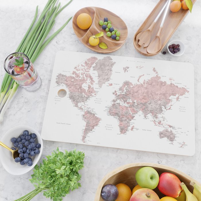 Dusty pink and grey detailed watercolor world map Cutting Board