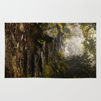 hiking Area & Throw Rugs featuring Hiking in the mist  by Matt Paul