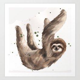Sloth Print, 3 toed sloth, cute sloth art Art Print