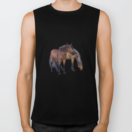 Horses in a misty dawn Biker Tank