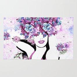 BEAUTIFUL GIRL WITH FLOWERS Rug