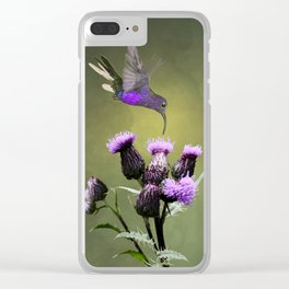 Violet Sabrewing Hummingbird and Thistle Clear iPhone Case