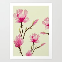 craftberrybush Art Prints featuring Pink Magnolia  by craftberrybush