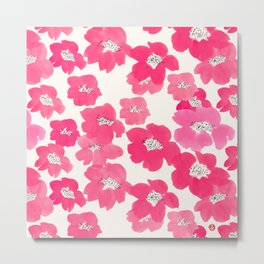 Camellia Flowers in Pink Metal Print