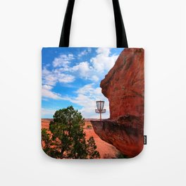 Disc Golf Basket in Moab Utah Tote Bag