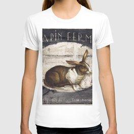 Vintage French Farm Sign Rabbit T-shirt